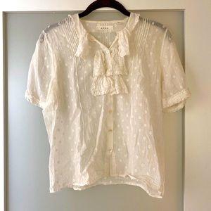 Dôen white cotton short sleeve blouse
